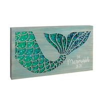 """The Mermaid Is In"" Wooden and Sequin Wall Plaque"