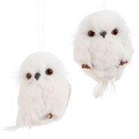 "RAZ Imports 4.25"" White Owl Ornaments - Set of 2"