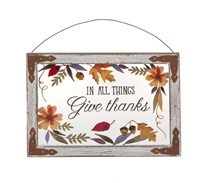 "Window and Wall Plaque - ""In All Things Give Thanks"""