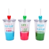 Insulated Tumblers With Flexible Straws - Flip Flop Theme