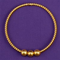 Lost Cubit (LC) 1/2 Light-Life Ring, copper, 24K gold plated, 3 beads