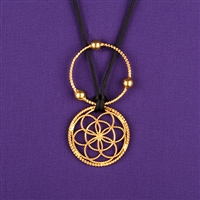 Sacred Cubit 1/4 Light-Life Lotus Pendant, copper, 24K Gold Plated