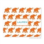 Elephants Orange Folded Note