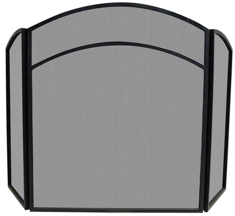 Uniflame 3 Fold Black Arch Top Fireplace Screen