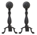 Uniflame Black Wrought Iron Andirons with Ball Handle