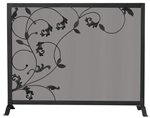 Uniflame Black Fireplace Screen with Flowing Leaf Design