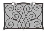 Uniflame Single Panel Black Ornate Fireplace Screen
