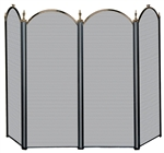 Uniflame Specialty Line 4 Fold Antique Brass and Black Fireplace Screen