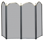 Uniflame Specialty Line 4 Fold Polished Brass and Black Fireplace Screen