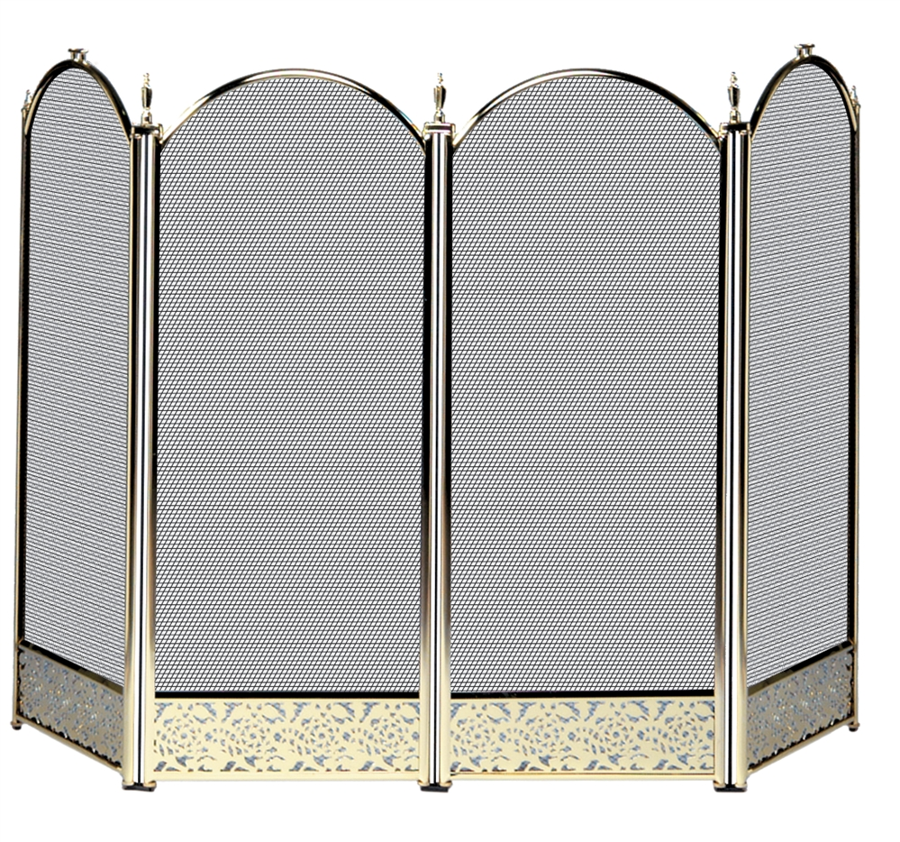 Uniflame Specialty Line 4 Fold Polished Brass Fireplace Screen with Decorative Filigree