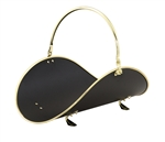 Uniflame Polished Brass and Black 21 Inch Woodbasket with Polished Brass Trim
