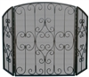 Uniflame 3 Fold Graphite Fireplace Screen with Scrolls