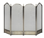 Uniflame Specialty Line 4 Fold Antique Brass Fireplace Screen with Decorative Filigree