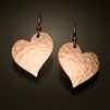 14K Rose Gold Filled Hammered Heart Earrings (151.r)