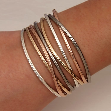 48654da2f33 Handcrafted Thin Cuff Bracelets from David Smallcombe- Sterling Silver, 14k  Yellow Gold Filled, and 14k Rose Gold Filled Hammered Cuff Bracelets