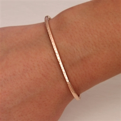 14k Rose Gold Filled Thin Hammered Cuff Bracelet (350str.rgf)