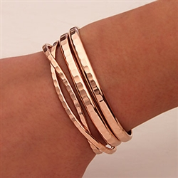 14K Rose Gold Filled Hammered Cuff Bracelets (351.352.rgf.4)