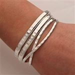 Sterling Silver Hammered Cuff Bracelets (351.352.s.4)