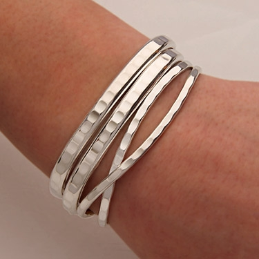 Sterling Silver Hammered Cuff Bracelets 351 352 S 4