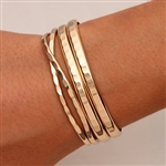 14K Yellow Gold Filled Hammered Cuff Bracelets (351.352.ygf.4)
