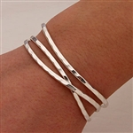 Sterling Silver Thin Hammered Cuff Bracelets (351.s.3)