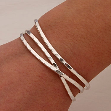 Sterling Silver Thin Hammered Cuff Bracelets 351 S 3