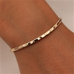 14k Yellow Gold Filled Thin Hammered Cuff Bracelet (351.ygf)