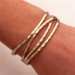 14K Yellow Gold Filled Thin Hammered Cuff Bracelets (351.ygf.4)