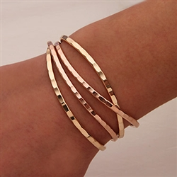 14K Yellow + Rose Gold Filled Thin Hammered Cuff Bracelets (351.ygf.rgf.4)