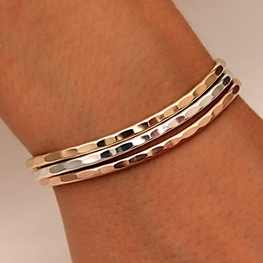 Sterling Silver 14k Rose And Yellow Gold Filled Thin Hammered Cuff Bracelets 351