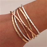 Sterling Silver, 14K Rose and Yellow Gold Filled Thin Hammered Cuff Bracelets (351.ygf.rgf.s.6)