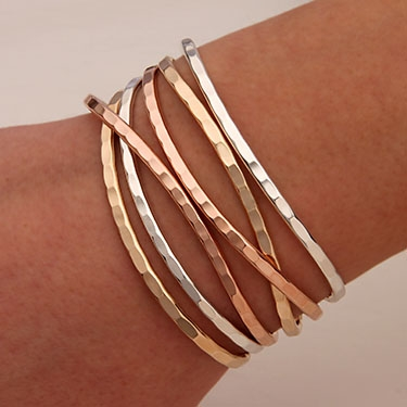 15e1ac310ab Handcrafted Thin Cuff Bracelets from David Smallcombe- Sterling Silver, 14k  Yellow Gold Filled, and 14k Rose Gold Filled Hammered Cuff Bracelets