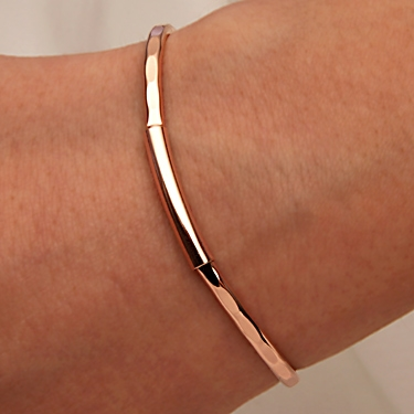 14k Rose Gold Filled Thin Hammered Cuff Bracelet 351th Rr