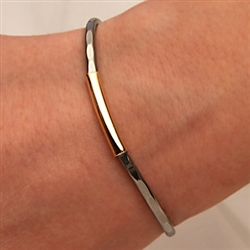 14k Yellow Gold Filled and Niobium Thin Hammered Cuff Bracelet (351TH.yn)