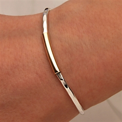 14k Yellow Gold Filled and Sterling Silver Thin Hammered Cuff Bracelet (351TH.ys)