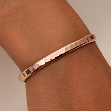 14k Rose Gold Filled Thick Hammered Cuff Bracelet 352 Rgf