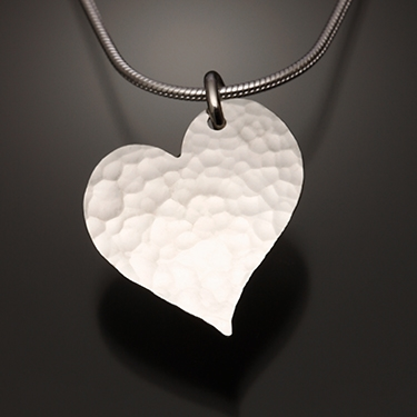 ca0ddbdd7c Handcrafted Sterling Silver Hammered Heart Pendant from David Smallcombe - Sterling  Silver Pendant