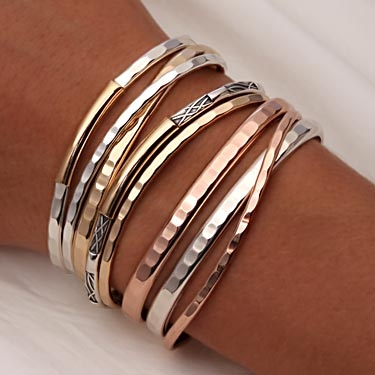 91f292f7b24 Handcrafted Thin Cuff Bracelets and Thick Cuff Bracelets from David  Smallcombe - Sterling Silver, 14k Yellow Gold Filled, and 14k Rose Gold  Filled