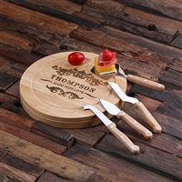 Personalized Bamboo Wood Cutting Bread Cheese Serving Tray Board with Tools (025212)