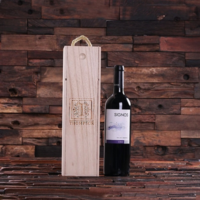 Personalized Wood Single Bottle Wine Box Weddings & Holiday Gifts Ideas (024402)
