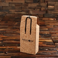 Cork Gift Box with Black Ribbon & Logo Imprint