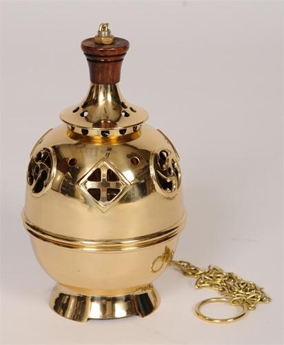 Brass Single Chain Church Censer / Thurible - 134 - (Church, Incense)