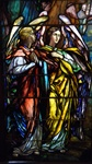 Two Angels Facing Right, Antique Stained Glass Window By J&R Lamb Studios.