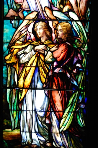 Two Angels Facing Left Antique Stained Glass Window By J