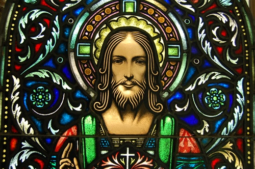 ANTIQUE SACRED HEART STAINED GLASS WINDOW