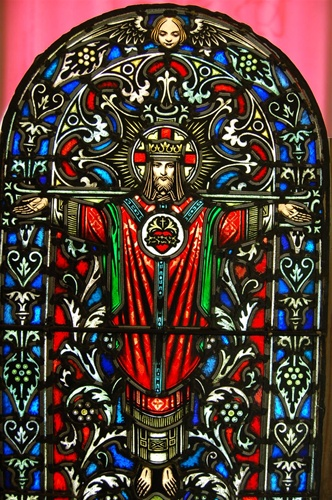 Antique Stained Glass Window Of Christ The King