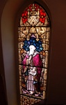 Antique early American Stained Glass Window, St. Elias