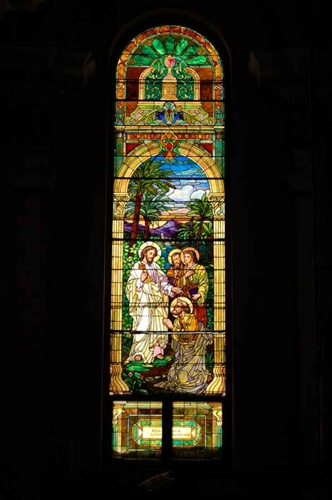 Tiffany Studios Style 100 Yr Old Stained Glass Window 1