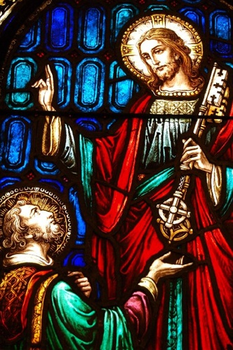 SG 393 C1920 Stained Glass Window Of St Peter Jesus