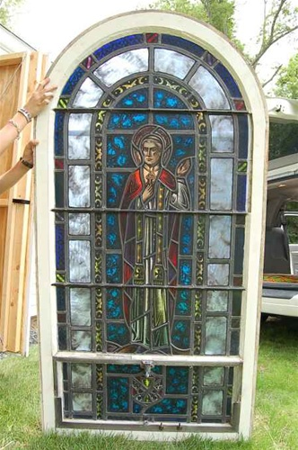 SG-441, St. Pius X -100 Year old Antique Church Stained Glass Window ...